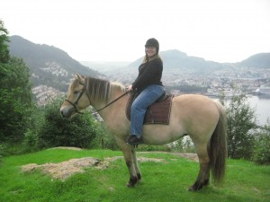 Nancy on a fjord horse in Bergen, Norway.